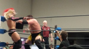 Samoa Joe goes reverse King Hippo on Michael Richard Blais.